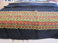 Vintage Woven Black Wool Fabric Weaving Scandinavian by SundayTown, $40.00