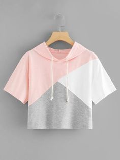 Color Block Hooded Crop Tee - French Shirt - Ideas of French Shirt - Color Block Hooded Crop TeeFor Women-romwe Cute Comfy Outfits, Cute Girl Outfits, Pretty Outfits, Stylish Outfits, Girls Fashion Clothes, Teen Fashion Outfits, Outfits For Teens, Belly Shirts, Cute Crop Tops