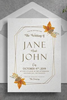This Printable Wedding Invitation Suite is a Printable download psd files of wedding stationery cards features a modern design style. A gold foil geometric border with acorn, maple leaf and other botanicals in fall, autumn colors such as orange and brown in earthy tones. This ready to print invite suit includes, wedding invitation card, menu, RSVP, Table Tent, Thank You Card, Save The Date and a Postcard that you can fully edit, customize and personalize. Great for DIY weddings and designers
