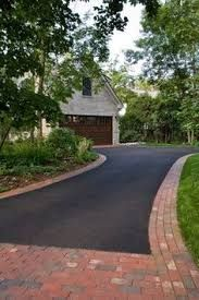 Image result for dark grey driveway with red brick edging