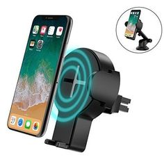 Wireless Car Charger Black Qi Fast Phone Air Vent Mount Holder Adjustable Range #Steanum