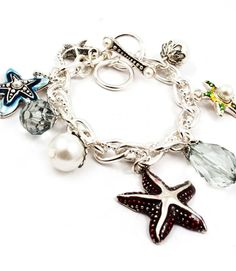 Silver Charm Bracelet StarFish Enamel Charms Pearls Beach Sea Life USA Seller #FashionLeader #Charm