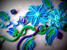 Look what happens when you add color to traditional Irish Crochet patterns! Smashing! From irishcrochetlab.com                                                                                                                                                     More