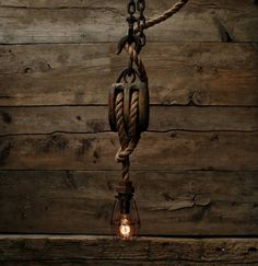 The Captains Quarters Pendant Light  Wood Pulley by MoonStoneFox