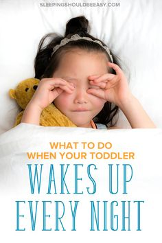 It's hard when your toddler wakes up every night crying and not going back to sleep. Maybe she's suddenly waking up at night for hours, or keeps screaming for you. Learn how to help your child stop waking up and sleep through the night so you and the whole family can get the rest you need. #toddler #wakingupatnight #sleeptraining