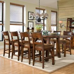 Woodland Ridge Counter Height Table & Stools Legacy Classic | Wooden Rectangle Leg Counter Height Gathering Dining Table Trestle Base Leaf S...
