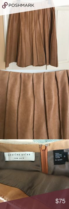 Charles Nolan NY tan leather skirt Great lined leather full skirt charles nolan Skirts A-Line or Full