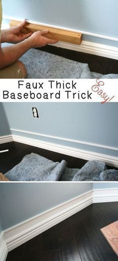 DIY Home Improvement On A Budget - Faux Thick Baseboard - Easy and Cheap Do It Yourself Tutorials for Updating and Renovating Your House - Home Decor Tips and Tricks, Remodeling and Decorating Hacks - DIY Projects and Crafts by DIY JOY http://diyjoy.com/diy-home-improvement-ideas-budget #homeimprovement #homedecoraccessories