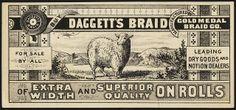 Buy Daggett's Braid, of extra width and superior quality on rolls [front] Vintage Labels, Vintage Ephemera, Vintage Prints, Vintage Designs, Retro Design, Graphic Design, Vintage Business Cards, Boston Public Library, Victorian Design