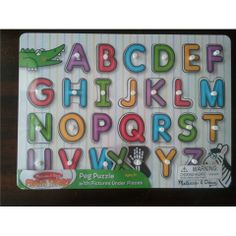 Alphabet Wooden Peg Puzzle by Melissa and Doug - Available at Kids Mega Mart Online Shop Australia