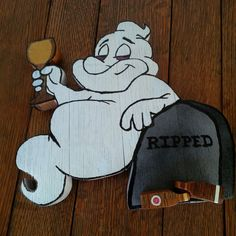 White Wine Drinking Ghost Ripped  Sign/Plaque made from by Winefi