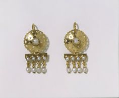 Gold and pearl Byzantine style earrings 1860-69