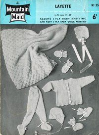 Mountain Maid 35 - baby layette incl shawl - vintage knitting pattern