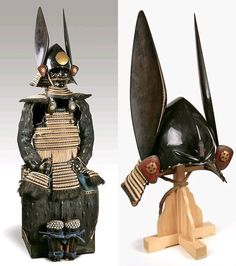 Kawari kabuto tosei gusoku. Early Edo Period (1615-1867)A very rare complete armor, with a kamon in the shape of a cross on all the parts. The kabuto of momonari shape, with two wakidate resembling rabbit's ears. Instead of the usual sode as shoulders protection there are large round kohire.