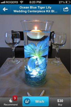 What pretty wedding center pieces. With purple Lillie's and then smaller ones on either side with just floating candles.