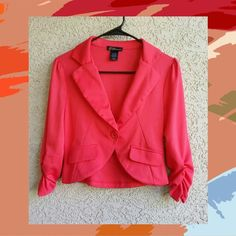 * Stunning Cropped Coral Blazer * New * Gorgeous coral blazer, cropped with one button. New without tags, never worn. A few very minor pulls/light snags as barely seen in last photo. Not noticeable at all. I didn't notice until taking photos. Grass Collection  Jackets & Coats Blazers
