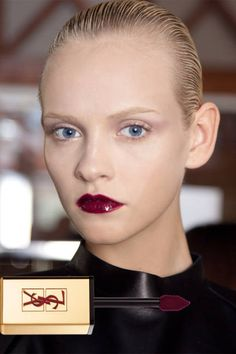 Those already tired of red lipstick can try the hue in a lacquered gloss