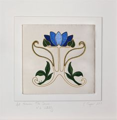 """Another lovely review! ★★★★★ """"Really effective but reasonably simple gold work and thread painting. Bought another couple as I so liked the """"lines"""" of this."""" Kerri A. https://etsy.me/2Kv0AS9  #etsy #supplies #blue #embroidery #artnouveau #waterlily #handembroidery #"""