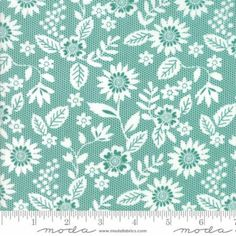 Sugar PIe~Floral Lace Turquoise~Cotton Fabric, Quilt, by Moda ,Fast Shipping,F875