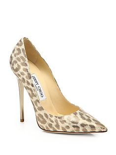 Jimmy Choo Anouk Leopard-Print Shimmer Leather Pumps - come on Santa Baby!