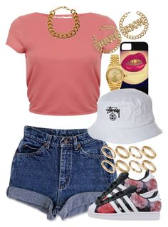 A fashion look from July 2015 featuring red shirt, jean shorts and set rings. Browse and shop related looks. Swag Outfits, Dope Outfits, Trendy Outfits, Summer Outfits, Girl Outfits, Fashion Outfits, Fashion Trends, Urban Fashion, Teen Fashion