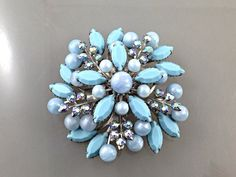 Huge Vintage Turquoise Blue Rhinestone Brooch with Aurora Borealis Crystals, Hi End Quality Costume Jewelry. Something Blue. Bride.