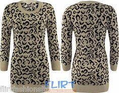 Womens Jumper Ladies Knitted Long Top Animal Leopard Bodycon Dress Winter Knit