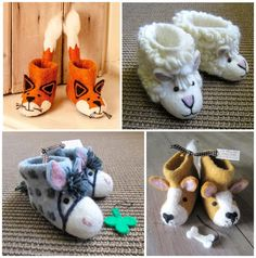 hello, Wonderful - CUTE ANIMAL FELT SLIPPERS FROM SEW HEART FELT