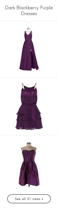 """Dark Blackberry Purple Dresses"" by tegan-b-riley on Polyvore featuring dresses, purple silk dress, elizabeth and james, gauze dresses, silk dress, tiered dresses, dark purple, alfred sung dresses, dark purple cocktail dress and dark purple dress"