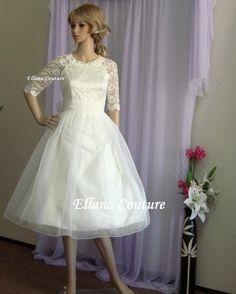 Carol - dentelle et Organza robe de mariée d'inspiration Vintage.