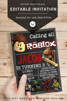DIY Roblox Invitation Instantl Download and Editable Text. No Waiting on Designs and Proofs. Personalise your Roblox Birthday Invite Today Simply Download, Edit and Print!