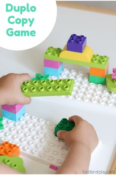 Create this super easy and fun copy game using Duplo. Kids will absolutely love this fun game! #duplogame #preschoolactivity #copygame
