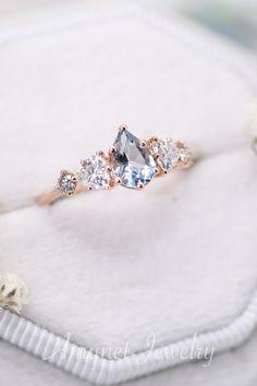Engagement Ring Shapes, Beautiful Engagement Rings, Engagement Ring Settings, Beautiful Rings, Engagement Ideas, Aquamarine Jewelry, Rose Gold Jewelry, Aquamarine Wedding Rings, Blue Wedding Rings