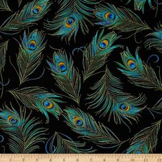 Timeless Treasures Enchanted Plume Metallic Peacock Feathers Black from @fabricdotcom  For Timeless Treasures, this cotton print fabric is perfect for quilting, apparel and home decor accents. Colors include black, shades of green, turquoise, gold and accents of metallic gold.