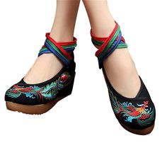 Chinese Embroidered Shoes Women Ballerina Cotton Elevator shoes Phoenix Black 35 * Check out this great product.