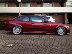 Callypsorot BMW e36 coupe on cult classic Borbet B wheels