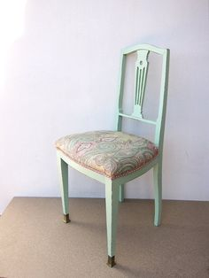 FULLY RESTORED and reupholstered Mint green vintage chair, Mint and pink vintage chair