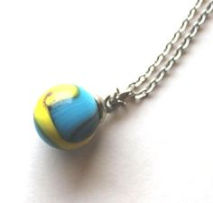 Necklace glass marble Vintage 1950s  1960s playful by Bunnys, $17.00