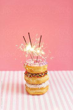 Stack of doughnuts with sparklers by Ellie Baygulov - Stocksy United Sparkler Candles, Sparklers, Fancy Donuts, Birthday Cartoon, Doughnut Cake, Birthday Breakfast, Buttercream Recipe, 15th Birthday, Happy Birthday