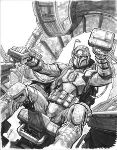 Star Wars - Boba Fett great drawing by Carlos D'Anda Star Wars Saga, Star Wars Bounty Hunter, Star Wars Boba Fett, Jango Fett, Star Wars Images, Star Wars Ships, Star Wars Gifts, Star Wars Poster, Star Wars Characters