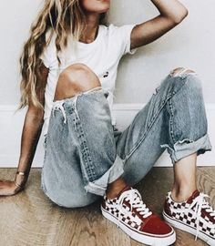 Super casual, super cute! Ripped jeans, vans, and a white tee!