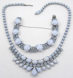 Weiss Blue Milk Glass Necklace & Bracelet Set - Garden Party Collection Vintage Jewelry