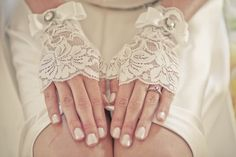 Love these vintage, cut-off lace gloves. Vintage wedding style.  A Feminine, Modest Fashion Blog: Couture for Christ