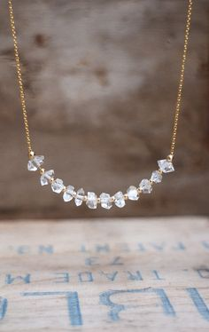Herkimer Diamond Necklace April Birthstone от AbizaJewelry на Etsy