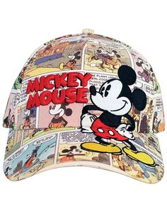 1d2a9c36888 Disney Mickey Mouse Comic Book Adjustable Men s All Over Baseball Cap NWT