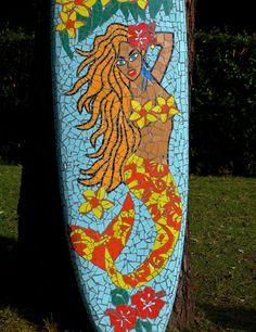 """Surf mosaïque """"tropical mermaid"""" : Mosaiques par caromosaique"""