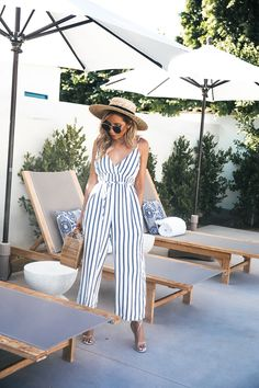 summer, vacation, Blue Stripped, Cropped Jumpsuit, Haute Instinct Blog, Fashion Blog, Summer essentials, haute & rebellious, pool side, summer outfits