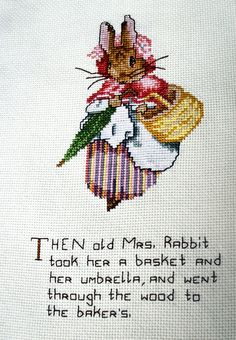 Peter rabbit Beatrix Potter cross stitch embroidery by jarg0n, £25.00