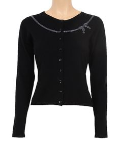 Look at this Louie et Lucie Black & Silver Embellished Bow Cardigan on #zulily today!