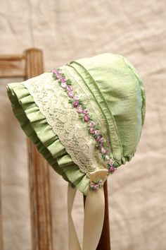 Silk and lace baby bonnet-- infant photo prop, vintage inspired bonnet, layette, baby hat, newborn bonnet , baby clothes